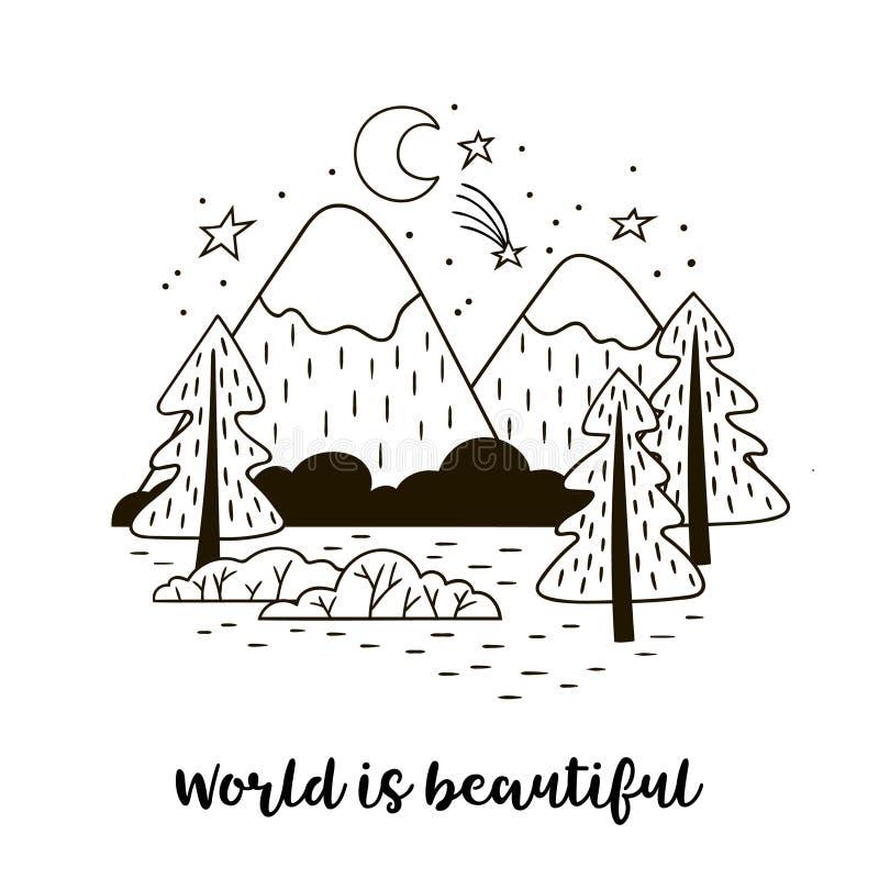 Paesaggio della montagna di Minimalistic con gli abeti rossi Il mondo scritto a mano dell'iscrizione è bello illustrazione di stock