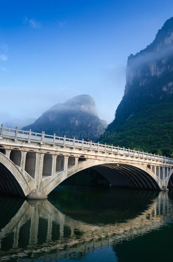 Paesaggio della montagna di morfologia carsica del fiume di Li fotografia stock libera da diritti