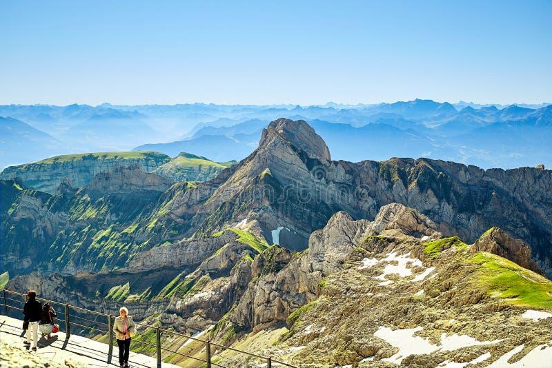 Paesaggio della montagna di Saentis, alpi svizzere fotografie stock libere da diritti