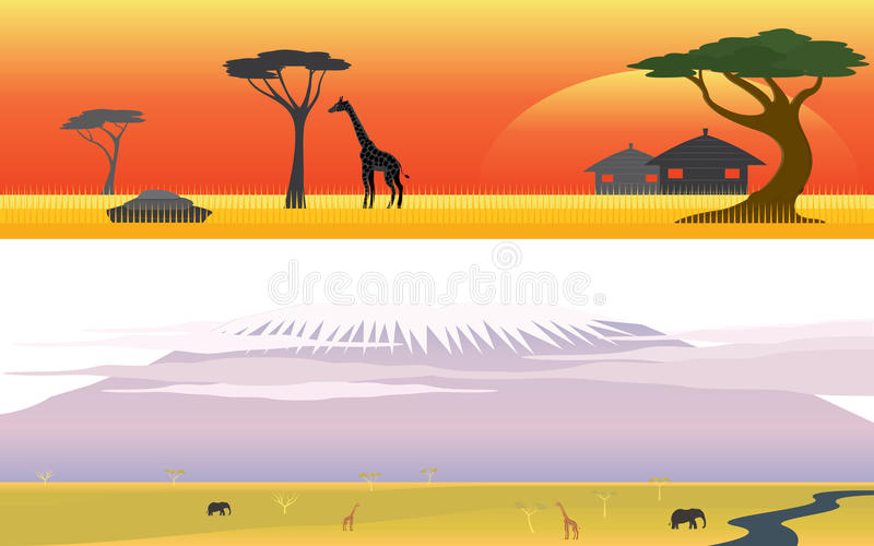 Paesaggio della montagna di safari e di grande della savanna dell'Africa fotografie stock libere da diritti
