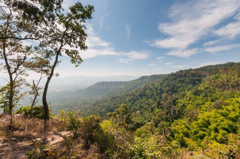 Paesaggio della montagna di Sam Haek Cliff Place, Phu Kra Dueng fotografie stock libere da diritti