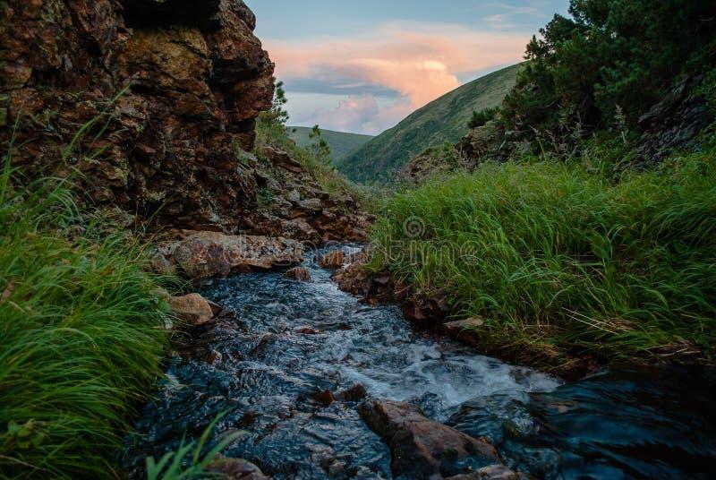 Paesaggio della montagna di sera fotografia stock