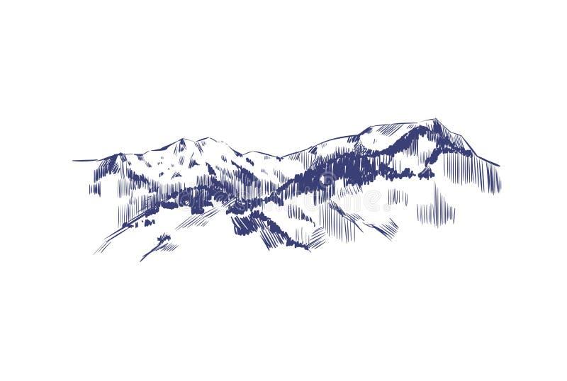 Paesaggio della montagna Illustrazione disegnata a mano di vettore Montagne nello stile di schizzo royalty illustrazione gratis