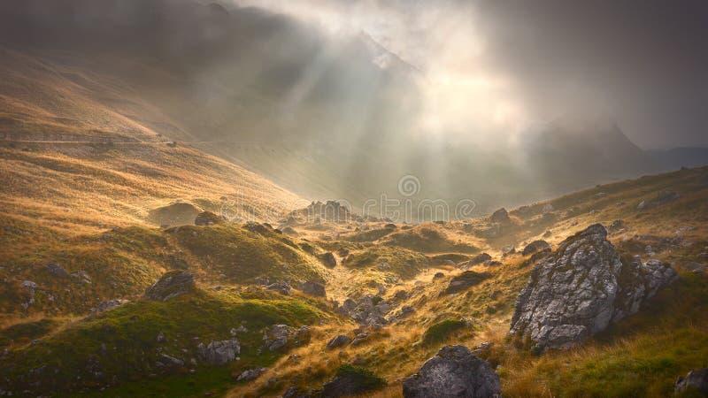 Paesaggio della montagna nebbiosa alla mattina nuvolosa drammatica immagini stock
