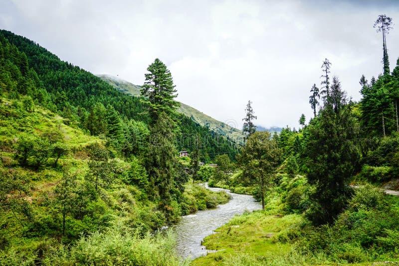 Paesaggio della montagna nel Bhutan immagine stock