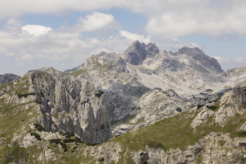 Paesaggio della montagna nel parco nazionale di Durmitor nelle alpi di Dinaric fotografia stock libera da diritti