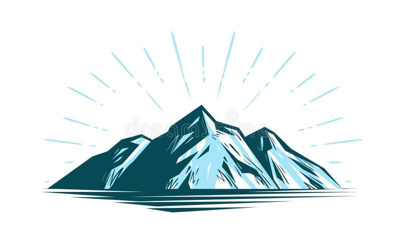 Paesaggio della montagna, roccia Illustrazione di vettore della natura illustrazione di stock