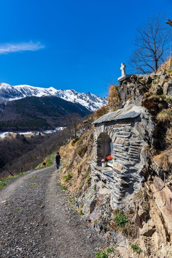 Paesaggio della montagna della strada del san-Lary-Soulan fotografia stock libera da diritti
