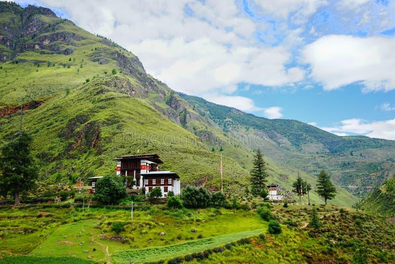 Paesaggio della montagna a Thimphu, Bhutan fotografia stock