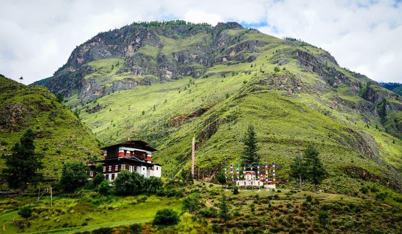 Paesaggio della montagna a Thimphu, Bhutan fotografie stock