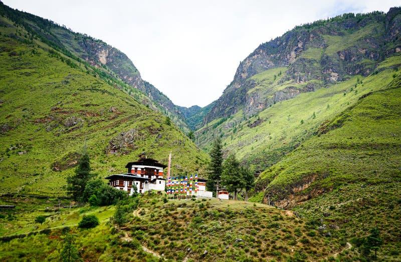 Paesaggio della montagna a Thimphu, Bhutan fotografia stock libera da diritti