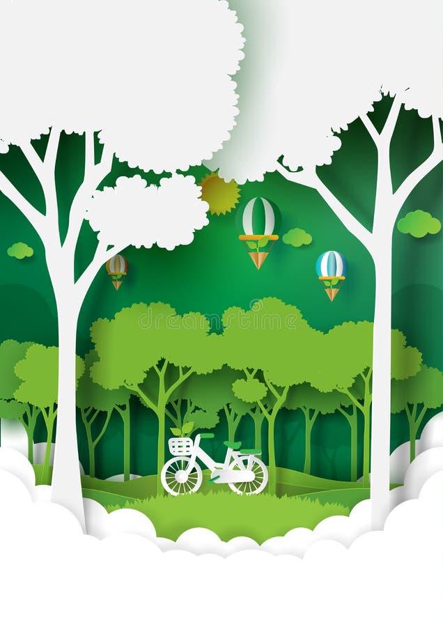 Paesaggio della natura con conservazione verde dell'ambiente royalty illustrazione gratis