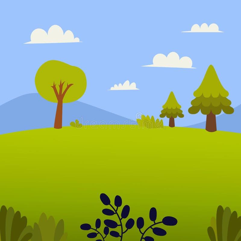 Paesaggio della natura con erba, gli alberi, la collina e il montain Fondo del cielo e del prato nella progettazione piana estate royalty illustrazione gratis