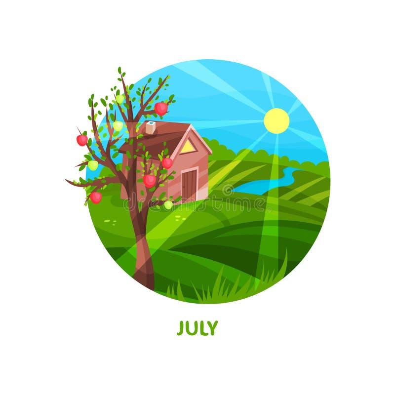 Paesaggio della natura con la casetta, il prato, di melo, il fiume ed il sole luminoso Giorno caldo di luglio Stagione di estate  illustrazione di stock