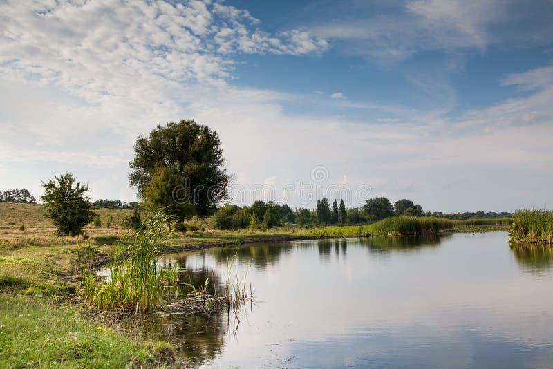 Paesaggio della natura del fiume, giorno soleggiato di estate e fondo del cielo nuvoloso fotografie stock
