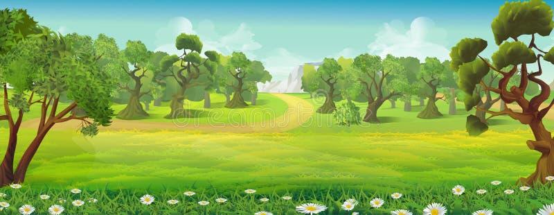 Paesaggio della natura della foresta e del prato illustrazione vettoriale