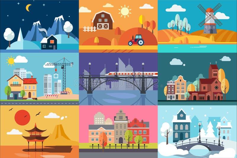 Paesaggio della natura e di urbano nelle illustrazioni differenti di vettore dell'insieme di stagioni illustrazione vettoriale