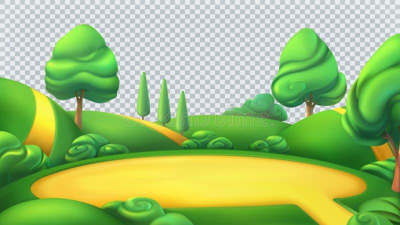 Paesaggio della natura Panorama di vettore isolato parco 3d royalty illustrazione gratis