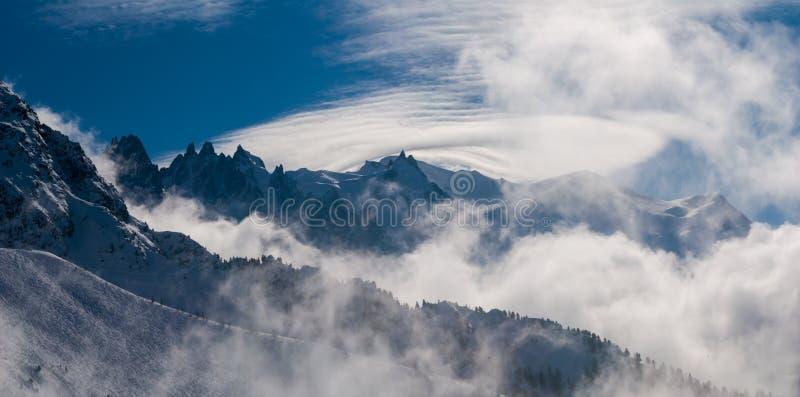 Paesaggio della neve di Chamonix-Mont-Blanc fotografie stock libere da diritti