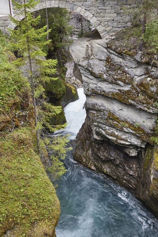 Paesaggio della Norvegia con il ponte ed il fiume di pietra Gudbrandsjuvet, Va fotografia stock libera da diritti