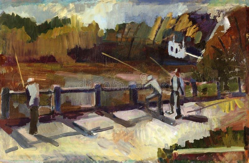 Paesaggio della pittura illustrazione di stock