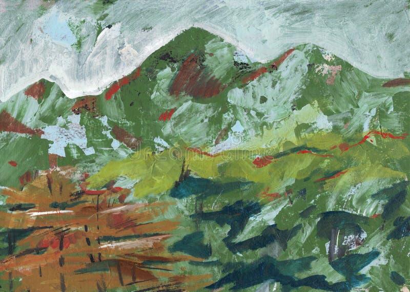 Paesaggio della pittura a olio illustrazione di stock