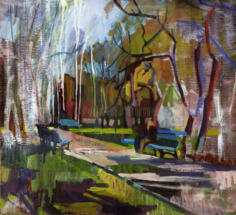 Paesaggio della pittura a olio illustrazione vettoriale