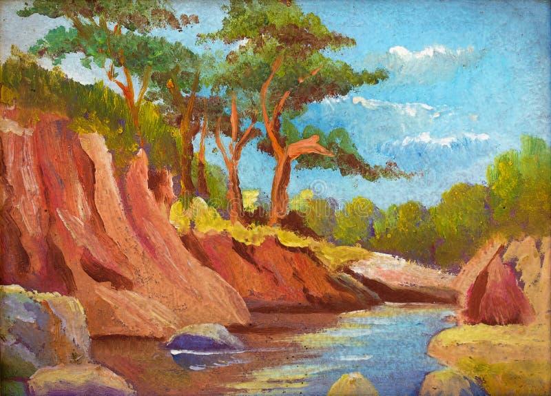 Paesaggio della pittura a olio - abetaia vicino al fiume royalty illustrazione gratis