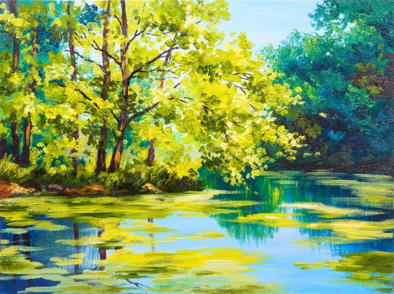 Paesaggio della pittura a olio - lago nella foresta royalty illustrazione gratis