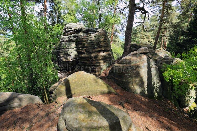 Paesaggio della primavera con le rocce dell'arenaria nel paradiso della Boemia fotografie stock