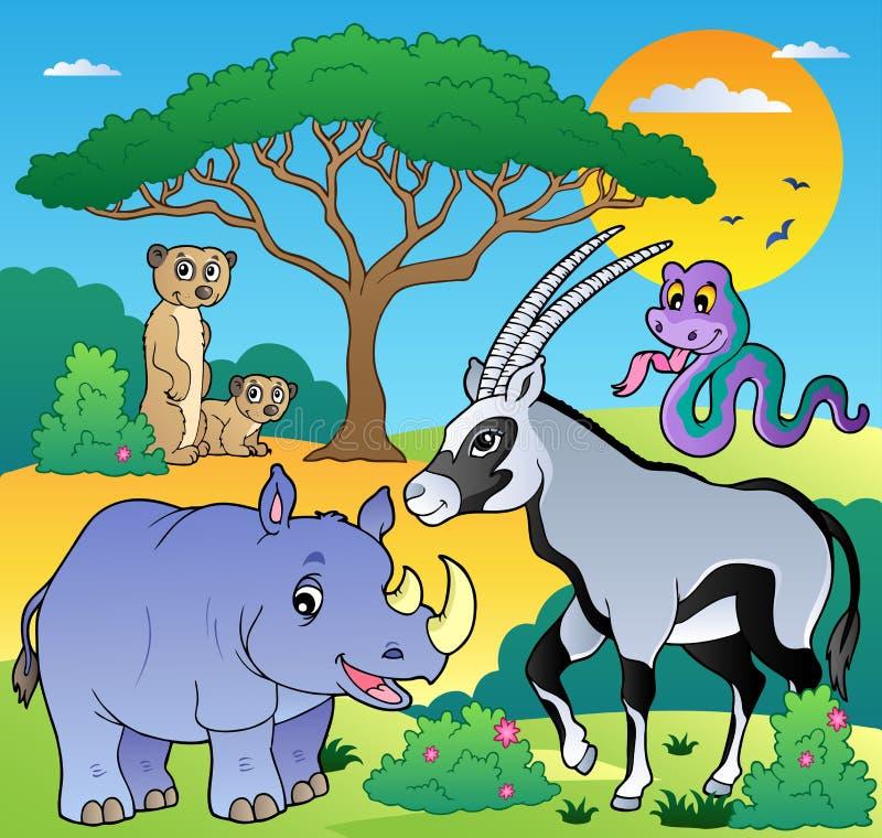 Paesaggio della savanna con gli animali 1 royalty illustrazione gratis