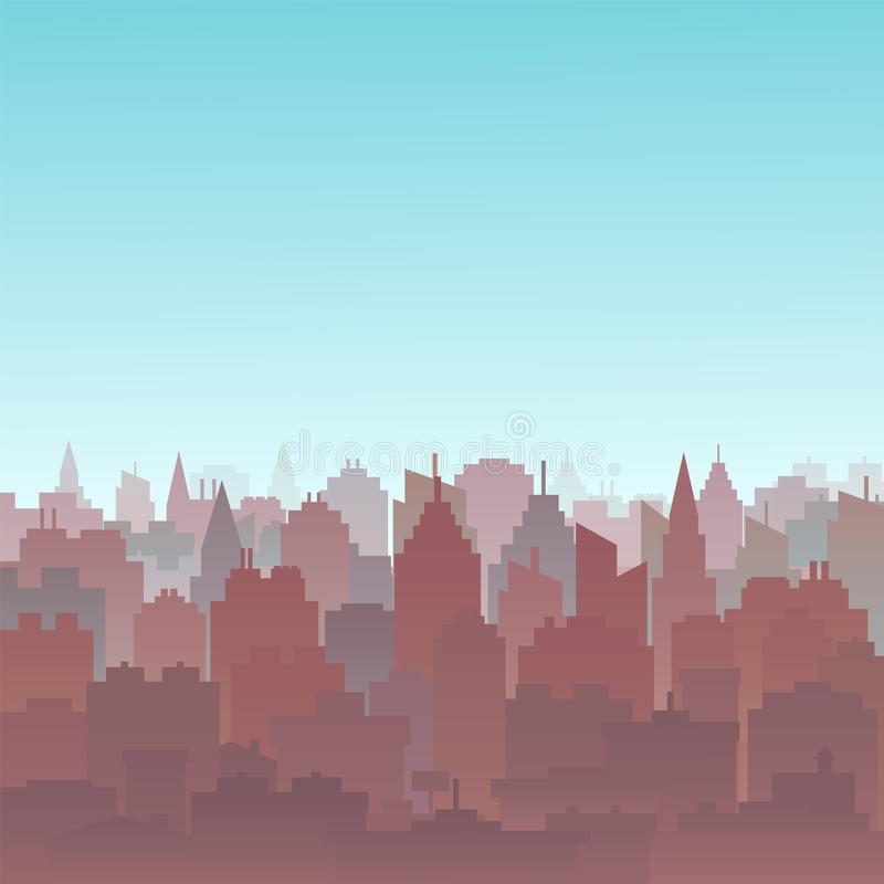 Paesaggio della siluetta della città di tramonto Fondo del paesaggio della città Orizzonte del centro con gli alti grattacieli Pa illustrazione vettoriale