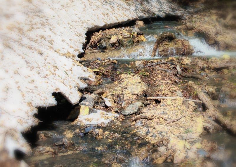 Paesaggio della sorgente Acqua e neve della corrente nelle montagne fotografie stock libere da diritti