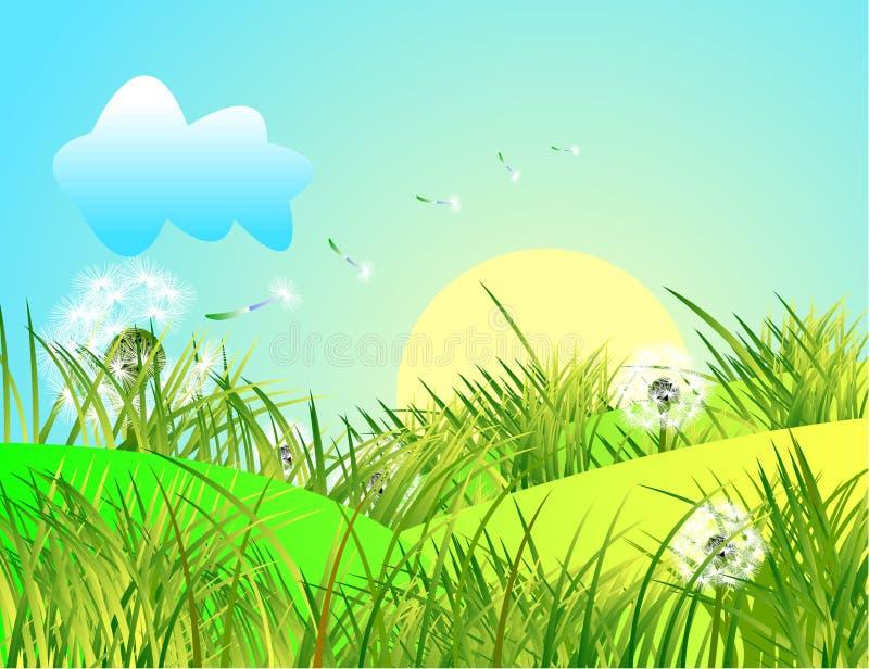 Paesaggio Della Primavera Con Erba Verde E Cielo Blu Fotografia Stock Gratis