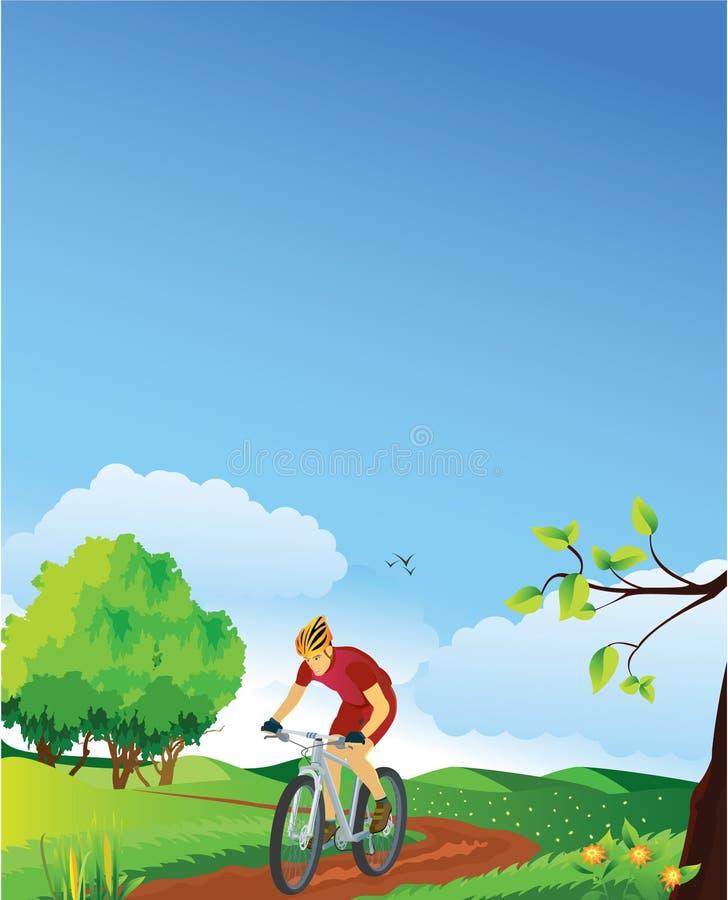 Paesaggio della sorgente con un motociclista della montagna. illustrazione vettoriale