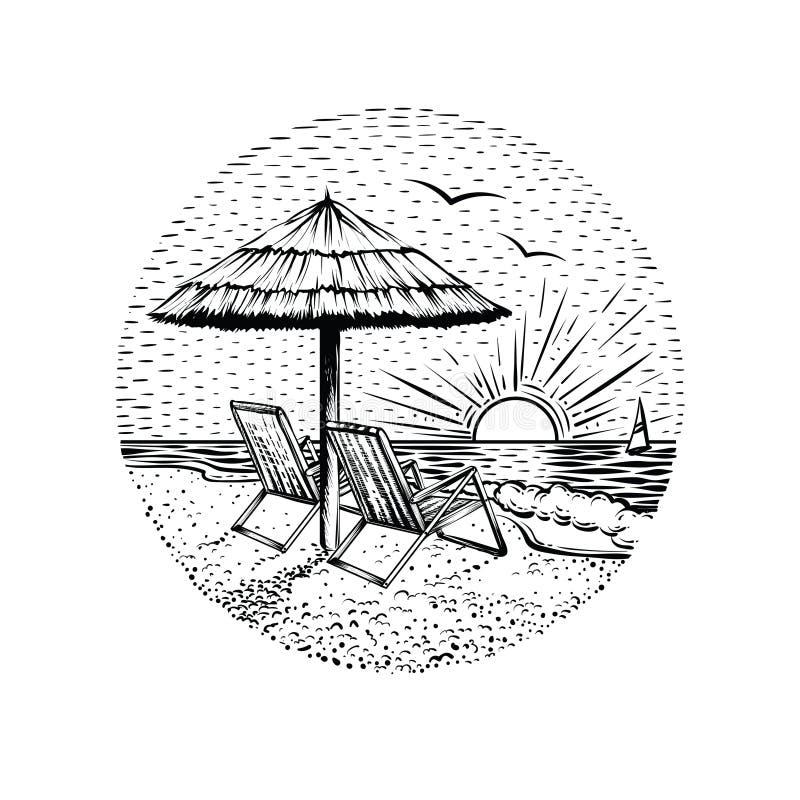 Paesaggio della spiaggia con il parasole e due sedie Emblema di vacanza del mare, carta o elemento rotonda di progettazione illustrazione di stock