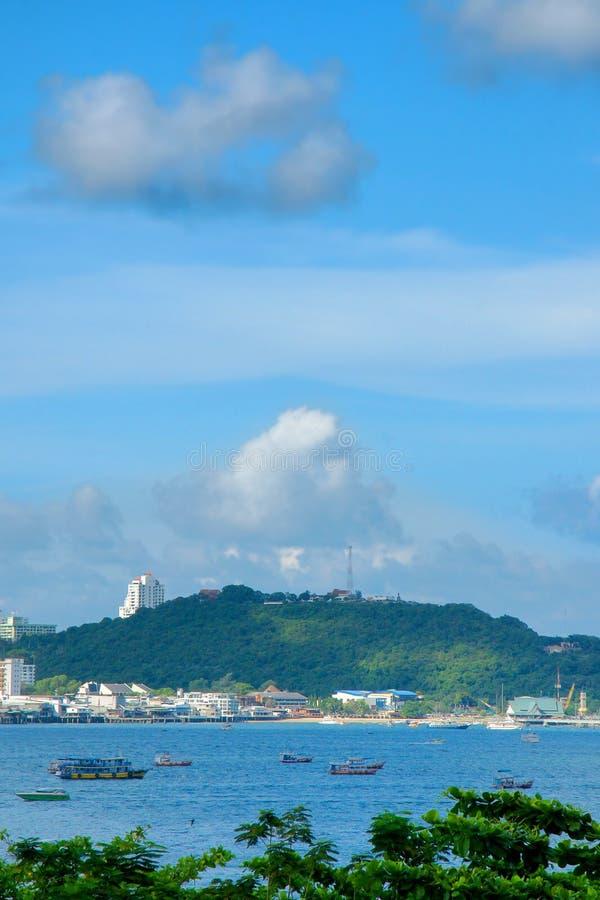 Paesaggio della spiaggia di PATTAYA Chonburi, Tailandia orientale fotografia stock
