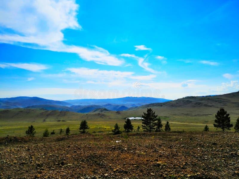 Paesaggio della steppa un giorno di estate in montagne di Dali un chiaro giorno contro un cielo blu immagine stock libera da diritti