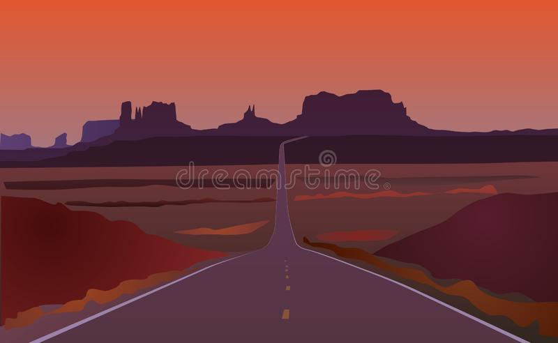 Paesaggio della strada dell'Arizona illustrazione di stock