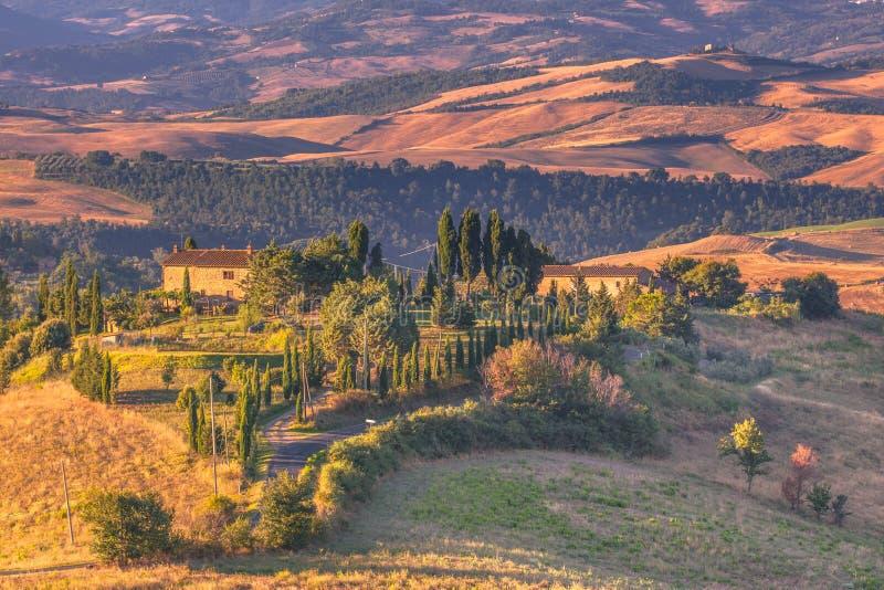 Paesaggio della Toscana di mattina fotografia stock
