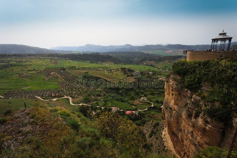 Paesaggio della valle fertile sotto Ronda, Spagna fotografia stock