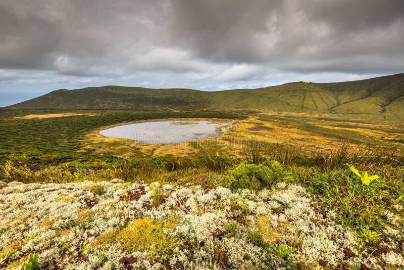 Paesaggio delle Azzorre con il lago nell'isola del Flores Caldeira Funda Por fotografia stock libera da diritti