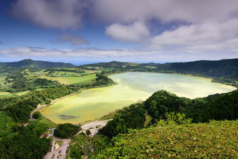 Paesaggio delle Azzorre in Lagoa das Furnas fotografia stock libera da diritti