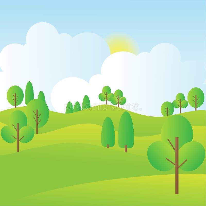 Paesaggio delle colline con gli alberi, il cielo blu, l'alba e le nuvole illustrazione vettoriale