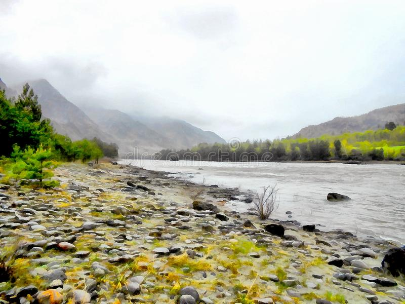Paesaggio delle montagne della pittura dell'acquerello del fondo fotografia stock libera da diritti