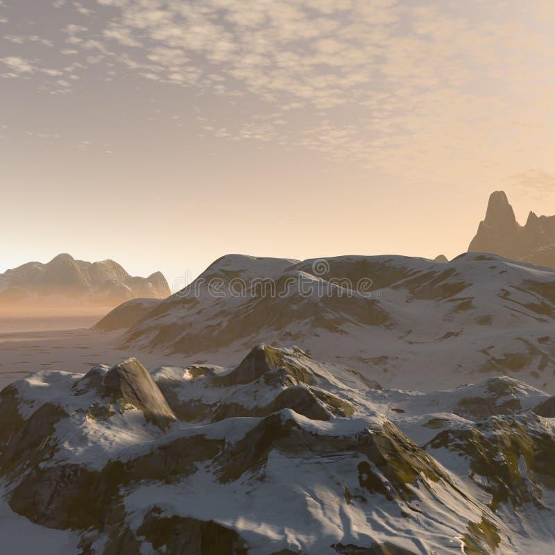paesaggio delle montagne di inverno di fantasia 3D illustrazione di stock