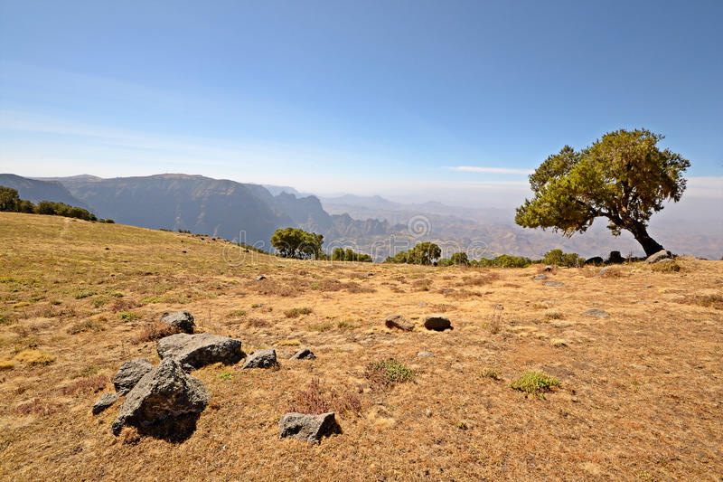 Paesaggio delle montagne di Simien fotografie stock