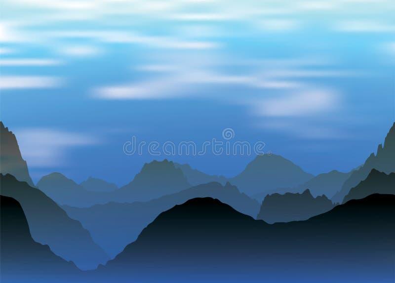 Paesaggio delle montagne e della nebbia nevose alla sera royalty illustrazione gratis