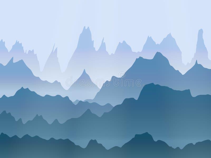 Paesaggio delle montagne nebbiose dell'acquerello di vettore illustrazione vettoriale