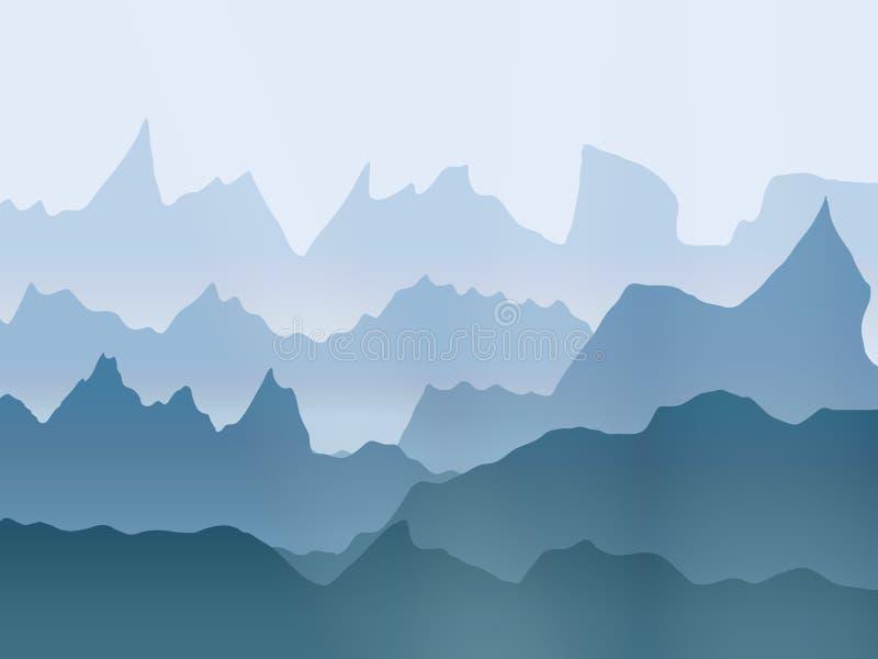 Paesaggio delle montagne nebbiose dell'acquerello di vettore royalty illustrazione gratis